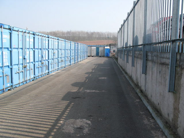 2.4 metre high steel palisade security fencing.